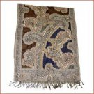 Hand made Pure Jacquard woolen shawl with beads