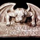 NEW GOTHIC ABANDON ALL HOPE GARGOYLE SIGN HALLOWEEN