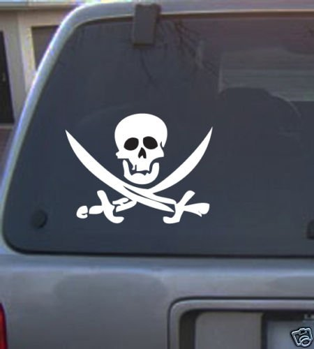 Decal Vinyl Graphic Pirate & 4 Colors to Pick