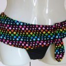 Arizona Bikini Bottom Black with Colorful Dots Size Large NEW
