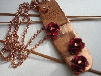 Red Roses on Copper Dimensional Necklace