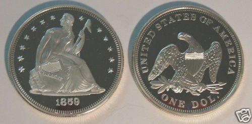 CC-19 US 1859 Seated Liberty Dollar Proof COPY