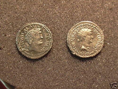 (RR-10) Denarius of Mark Anthony and Cleopatra COPY