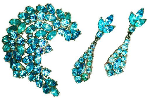 Turquoise Blue Rhinestone Brooch & Earrings Set