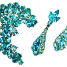 Turquoise Blue Rhinestone Brooch & Earrings Set