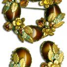 Brown-Gold Brooch & Earrings Set
