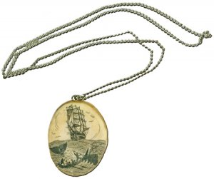 Large Oval Scrimshaw Pendant with Chain