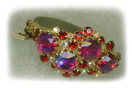 Ruby Crystal Hinged Bracelet