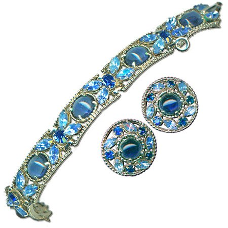 Round Blue & Silver Earrings and Bracelet Set