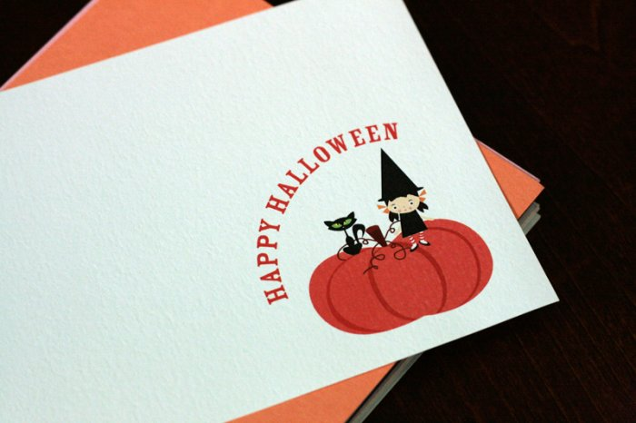 Cute and Adorable Happy Halloween - Set of 3 Flat Note Cards Set