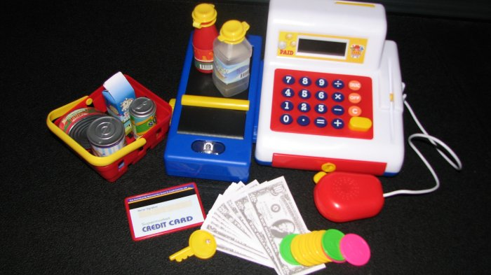 Kids Pretend Play Cash Register & Accessories - Math & Counting Learning