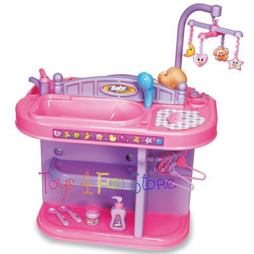 Girls Play Doll Crib Baby Nursery Changing Table Station