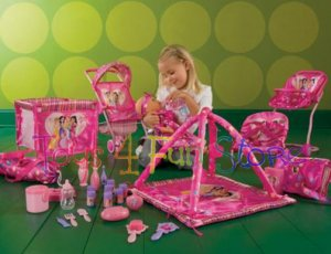 Girls Play Baby Doll Huge Set Of Doll Furniture Carrier High Chair