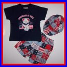 [0/3 mos] Baby 3 PC Outfit: Tee Shorts Hat 4TH OF JULY  New
