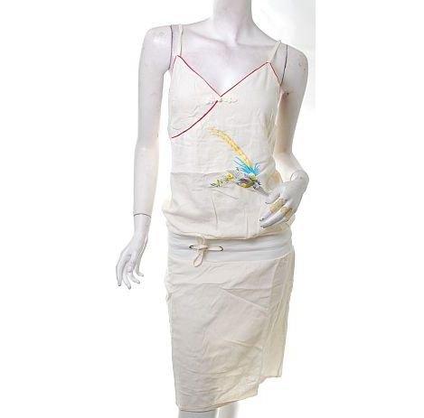 runway style orientalism folk linen phoenix embroidery dress cyber white free ship!