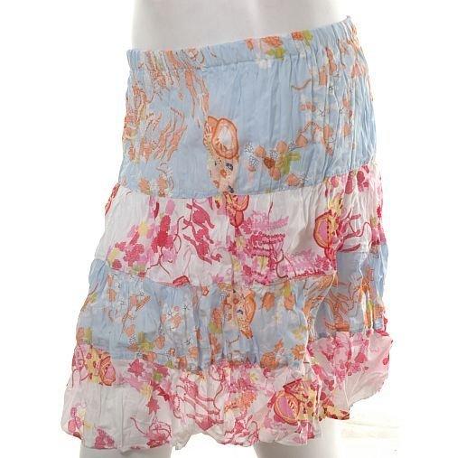 hip & haute kimono oriental print crinkle tiered knee length boho skirt s-m free ship!
