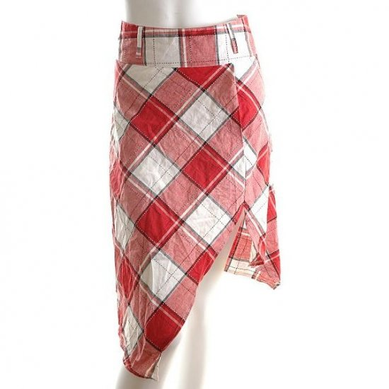 edgy chic meets staid unique asymmetrical plaid print skirt s free ship!