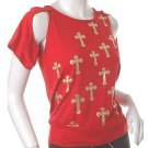 "gothic joan of arc insp crosses unique ""armoured"" sleeves top m-l free ship!"