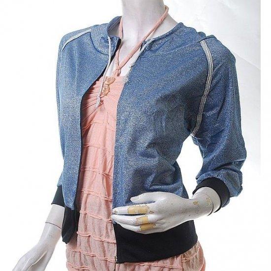 unique hip & haute futuristic urban glam glitter frosty blue hoodie jacket s-m free ship!