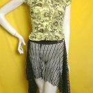 Sheer biker chain drape mini asymmetrical skirt