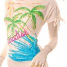 Emo scene 80s hawaii tropical comic art print top s-m free shipping