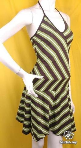 EMO FASHION SCENE CLOTHING 80S STYLE CLOTHES STRIPED MINI BUSTIER DRESS
