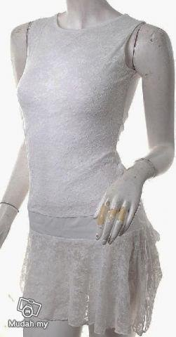 2010 TRENDS RUNWAY FASHION CLOTHING mini dress lace sheer TREND DRESS WHITE
