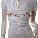 EDWARDIAN TREND RUNWAY FASHION ROMANTIC CLOTHING VINTAGE STYLE CLOTHES 3D ROSETTE BIB TOP