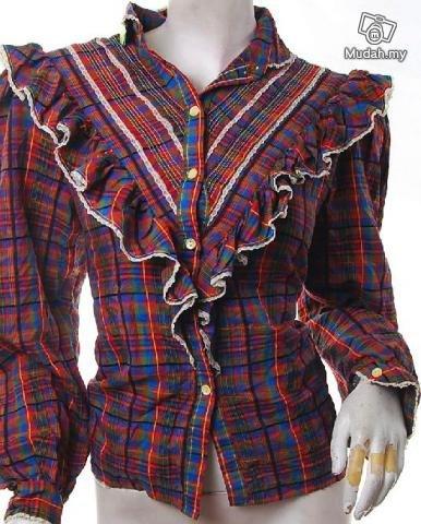 EMO INDIE CHECKS FASHION TREND ROCKABILLY CLOTHING VINTAGE CLOTHES 80S PLAID VICTORIAN SHIRT
