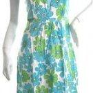 Retro artsy floral pinafore full skirt bandage dress