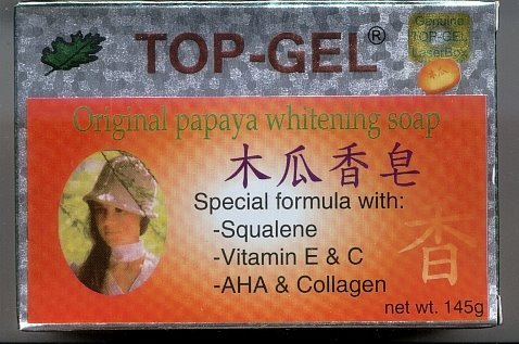 6 PCS TOP-GEL PAPAYA Whitening SOAP Squalene AHA Collagen, FREE SHIPPING