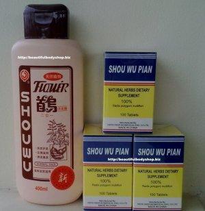 3 pc. Shouwu Hair Grower Pills + 1 Shouwu Shampoo Combo Pack