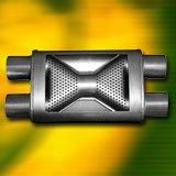 "Performance Flow Muffler 2.25"" Pipes 17"" Shell 23"" AOL"