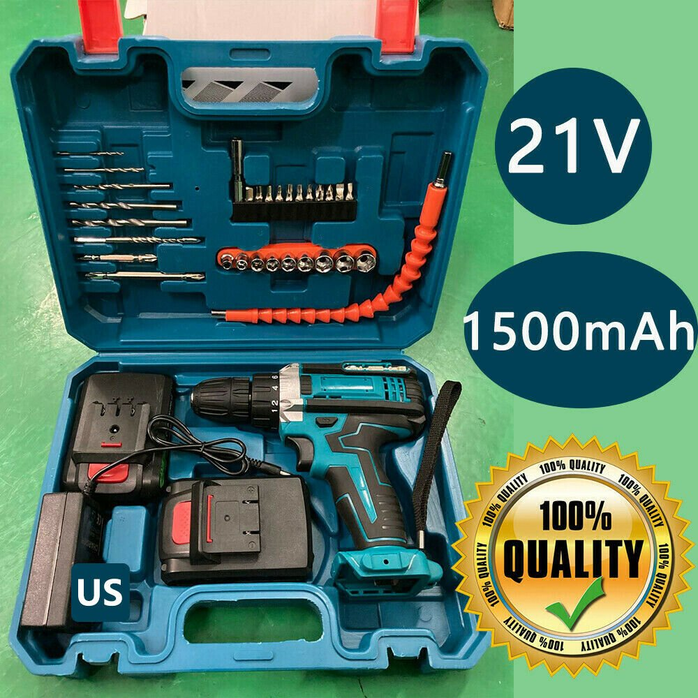 21V Cordless Drill Electric Screwdriver 30pcs Drill Driver Kit+2*Battery+Charger