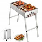 Folded Portable Charcoal BBQ Grill, 24x12 in Outdoor Barbecue Camping