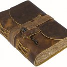 Vintage Leather Journal - Antique Handmade Leather Bound journal with deckle edge paper