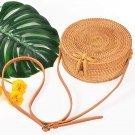 Rattan single-shoulder small round bag Hand-woven ladies fashion bag Round