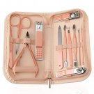Stainless Steel Manicure Set 12 in 1, with Pink Leather Bag