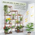 10 Tire Tall Large Wood Plant Shelf Multi Tier Flower Stands,Garden Shelves Wooden Plant Display