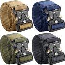 "Tactical Belt, 4 Pack Military Style Belts for Men, 49""x1.5"" Nylon Webbing Belts,Quick Release"