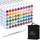 61 Colors Dual Tip Art Markers, 60 Colors plus 1 Blender Permanent Marker