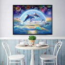 Diamond Painting Round Dolhpin for Adults 5d DIY Art Craft Night View Painting with Crystal Beads