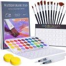 55 PCS Watercolor Paint Set, 36 Paint & 1 Palette, 24 Pages 300g Painting Pad