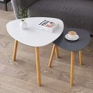 Bamboo Nesting Triangle End Table,Set of 2 Coffee Table Modern Minimalist Side Table