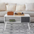 Modern Coffee Table with Drawer and Storage Shelf Rectangle