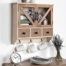 Decorative Wooden Wall Cabinet with Chicken Wire 2-Door Front
