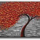 Modern Abstract Painting Red Tree 3D Oil Painting Hand Painted On Canvas