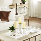 White Wood Candle Holders with Spiked Candle Plates, Traditional