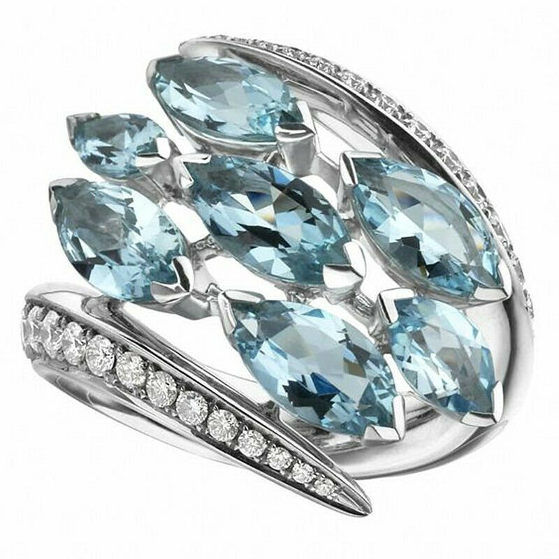 Gorgeous 925 Silver Wedding Rings for Women Aquamarine Jewelry Size 6-10