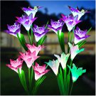 4 Pack Solar Garden Lights with Bigger Lily Flowers, Waterproof 7 Color Changing